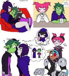 """alternatively titled """"double date dump"""", because anytime I doodle teen titans its always just these couples lol (sorry RobinxStarfire fans! Teen Titans Raven, Teen Titans Go, Teen Titans Fanart, Cartoon Shows, Cartoon Art, Raven Beast Boy, Original Teen Titans, Bbrae, Accel World"""