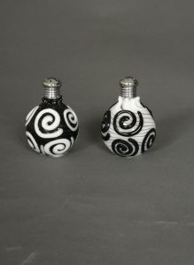Pair of Hand Blown Glass Black and White Swirl Salt and Pepper Shakers. $79.95 www.ctlighting.com #holidaygifts