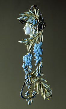 René Jules Lalique; Woman's Face and Wisteria; 1898/1900