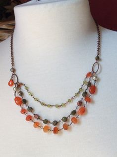Carnelian, unakite and peridot necklace with copper by mooliemarket on Etsy