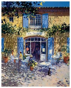 "Terrasse de café – Laurent Parcelier. – Laurent Parcelier was born in 1962 in France. Interested in art from an early age, Parcelier attended the Applied Arts School in Dordogne. His obvious talent soon materialized into the publication of several of his albums called ""Le Drole de monde"" (""Strange World""). His fame was beginning to spread and ..."
