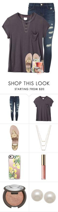 """you hit me like a hurricane"" by emilyandella ❤ liked on Polyvore featuring J Brand, RVCA, Jack Rogers, ERTH, Casetify, tarte, Becca, Honora and country"