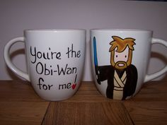 STAR WARS MUG INDIVIDUALLY HAND PAINTED OBI-WAN KENOBI MUG by TATTOO TEA LADY   Wise Obi with white hair, or young brown haired version......you