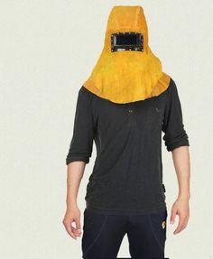 Welding Helmet Genuine Leather Fireproof Yellow Helmet for Welders DF-2011