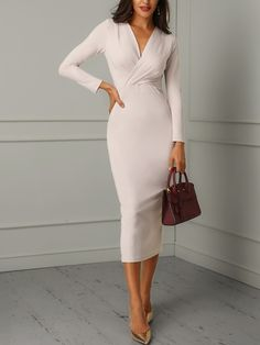 Ruched Wrapped Long Sleeve Bodycon Dress dresses for work Ruched Wrapped Long Sleeve Bodycon Dress Mode Outfits, Office Outfits, Fashion Outfits, Fashion Tips, Fashion Design, Office Wear, Womens Fashion, Office Attire, Dress Fashion