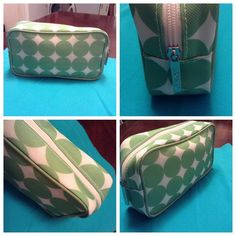 """Clinique Cosmetic Bag Clinique Cosmetic Bag is super cute. Made of man made materials this bag is a must have. The colors are green and white. The size of this bag is """"5.5H By 9. This item is in Good condition, Authentic and from a Smoke And Pet free home. All Offers through the offer button ONLY. I Will not negotiate Price in the comment section. Thank You Clinique Bags Cosmetic Bags & Cases"""