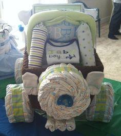Backside of mini Jeep diaper cake