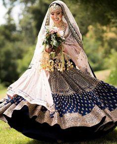 "Asiana Couture ""Portfolio"" Weddig Bridal Lehenga - Bride in Amazing Saree Gown. Indian Bridal Outfits, Indian Bridal Lehenga, Indian Bridal Wear, Indian Dresses, Indian Clothes, Indian Wear, Blue Bridal, Desi Clothes, Indian Style"
