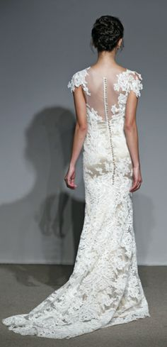 ulla-maija couture; love the illusion back, covered buttons, and lace over slightly different colored under layer