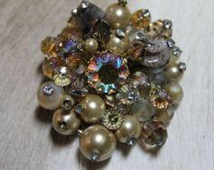Elaborate Vintage Vendome AB Rhinestone, Crystal,Shell, Pearl, Glass Beads Pin Brooch - Edit Listing - Etsy