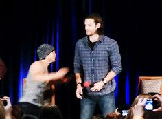 """Proof that Jared can and will pick up other cast members"" - I love that Osiric just jumps on him without any hesitation. Like, 'of course Jared will catch me. He would never let me just fall.' :)"