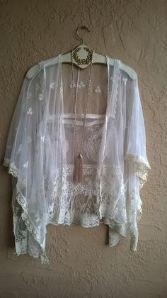 Image of Anthropologie Gypsy Romantic sheer lace kimono