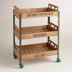 Green Metal and Wood Chantel Rolling Brasserie Cart | World Market