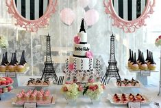 20 Most Creative Candy Buffets You& Ever Seen - Quinceanera Baby Shower Cakes, Décoration Baby Shower, Paris Baby Shower, Paris Sweet 16, Decoration Birthday, Decoration Photo, Cake Table Decorations, Decoration Table, Dessert Tables