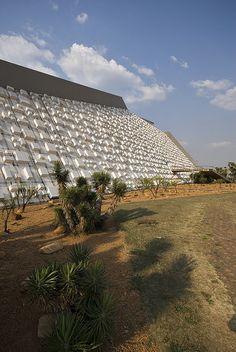 Cláudio Santoro National Theatre Brasilia    Architect: Oscar Niemeyer 1968  Landscape architect: Roberto Burle Marx  Sculpture-facade: Athos Bulcão