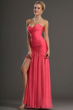 Brightly Colored Prom Dresses Ruffled Bodice Sheath Floor Length Hot Sales