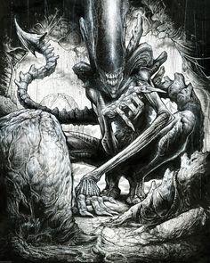 Xenomorph by Jonathan Wayshak Alien Vs Predator, Predator Alien, Les Aliens, Aliens Movie, Arte Alien, Alien Art, Arte Horror, Horror Art, King Kong