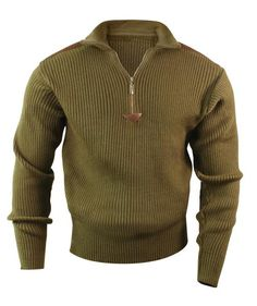 Quarter Zip Commando Sweater Comfortable Acrylic w/ Leather Accent Military Fashion, Mens Fashion, Military Style, Fashion Edgy, Military Clothing, Fashion Vintage, Fashion Wear, Moda Men, Tactical Clothing