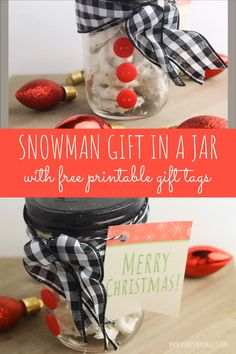 DIY Snowman Christmas Gift in a Mason Jar This adorable snowman Christmas gift in a mason jar is the perfect present! If you're searching f Christmas Gift Videos, Christmas Neighbor, Christmas Gift Card Holders, Neighbor Christmas Gifts, Christmas Gifts To Make, Neighbor Gifts, Christmas Crafts For Kids, Christmas Snowman, Easy Homemade Christmas Gifts