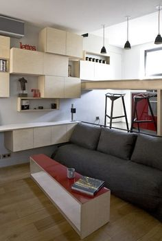 Student apartment, 16 square meters.  Julie Nabucet and Marc Baillargeon architects. The sofa pulls out into a double bed, the coffee table rolls to the side.  The steps up to the kitchen and bathroom lift up to provide even more storage. A ledge across from the sofa provides desk space.