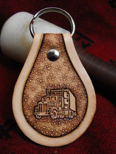 Hand Tooled Leather Big Rig Key Chain by JPsLeather on Etsy, $10.00 #Free #Loadboard #ReferATruck