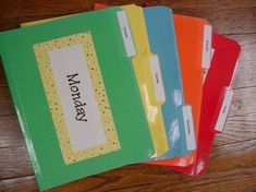 Organize your lesson plans with laminated file folders for everyday or subject areas