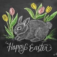 Happy Easter Card - Easter Bunny Card - Tulip Card - Chalkboard Art - Hand Lettering - Easter Illustration from LilyandVal on Etsy. Summer Chalkboard Art, Blackboard Art, Chalkboard Print, Chalkboard Drawings, Chalkboard Lettering, Chalkboard Designs, Chalk Drawings, Hand Lettering, Chalkboard Ideas