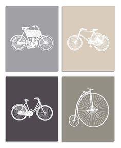 """Vintage Bicycle Art Prints - Kids, Baby, Nursery Wall Deco - Set of 4 8""""x10"""" Print"""