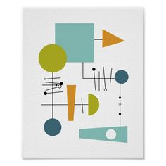 Mid Century Modern Decor, Mid Century Art, Geometric Shapes Art, Shape Art, Abstract Canvas, Abstract Posters, Art Posters, Custom Posters, Modern Posters