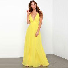 Summer Women Clothing Chiffon Bandage Yellow Dress Evening Party Dresses  Prom Gown Maxi Boho Long Beach 4ef71e349eb9
