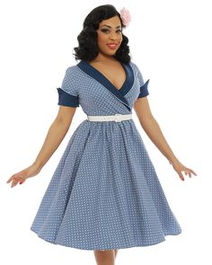 'Courtney' Pale Blue Polka Dot Swing Dress