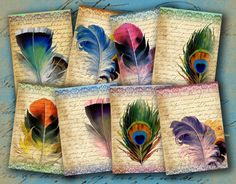 INSTANT DOWNLOAD Feathers on Vintage Letter Aged ATCs ACEOs or Jewelry Holders 2.5 X 3.5 inch - DigitalPerfection digital collage sheet 912. $4.00, via Etsy.