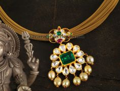 Jewellery Designs: Fancy Choker with Floral Pachi Locket