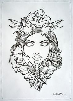 Disney Tattoos outlines | DEAD HEAD tattoo design OUTLINE by *oldSkullLovebyMW on deviantART