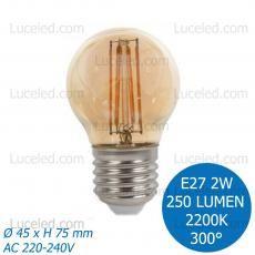 FSL® LAMPADINA LED MINIGLOBO FILAMENTO AMBRATA E27 2W G45 FASCIO 300° 250 LUMEN