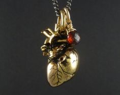 Anatomical Heart and Syringe Necklace  Antique Silver Pendant