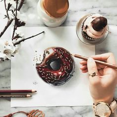Fabulous Drawing On Creativity Ideas. Captivating Drawing On Creativity Ideas. Sweet Drawings, 3d Drawings, Realistic Drawings, Beautiful Drawings, Pencil Drawings, Pencil Shading, Donut Drawing, Food Drawing, Copic Marker Drawings