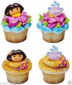 Dora The Explorer Cupcake Rings Toppers Cake Decorations 12ct Favors | eBay