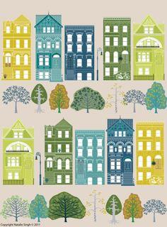 New York Brooklyn Brownstone Print  by Natalie Singh