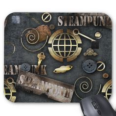 Steampunk scrapbooking mouse pad Custom Office Retirement #office #retirement