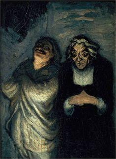 'Acteurs Comiques en Scène' by Honoré Daumier