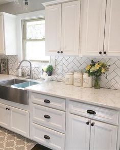 67+ Rural Farmhouse Kitchen Cabinet Makeover Ideas #kitchendesign #kitchenideas #kitchenremodel Kitchen Sink Decor, Ikea Kitchen Remodel, Farmhouse Kitchen Cabinets, Modern Farmhouse Kitchens, Home Kitchens, Kitchen Remodeling, Kitchen Ideas, Farmhouse Decor, Remodeling Ideas