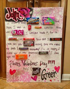 """Made this for my boyfriend for valentines day 2014! It reads: """"John, I used to date Goober and Nerds but then I met a Red Hot Sugar Daddy whose love was Good and Plenty. I wouldn't trade it for a Payday or 100 Grand. How did I Skor such and ah-M&M's-axing guy who makes me laugh and Snicker everyday? I'm so glad I found you in this enormous Milky Way! I love you to Reese's Pieces! Happy Valentines Day! Hugs and Hershey's Kisses! Greer"""""""