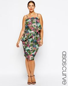 Image 1 of ASOS CURVE Exclusive Double Layer Cami Dress In Rose Check