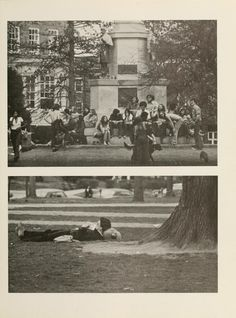 Athena yearbook, 1974. Top: People gather at the Civil War monument with their friends and dogs. Below: Prone studying under a tree on College Green. :: Ohio University Archives
