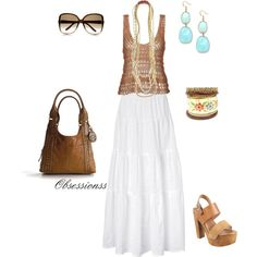 A bit boho, created by obsessionss - wear croched veracruz shirt w my white skirt like this.  not these shoes!