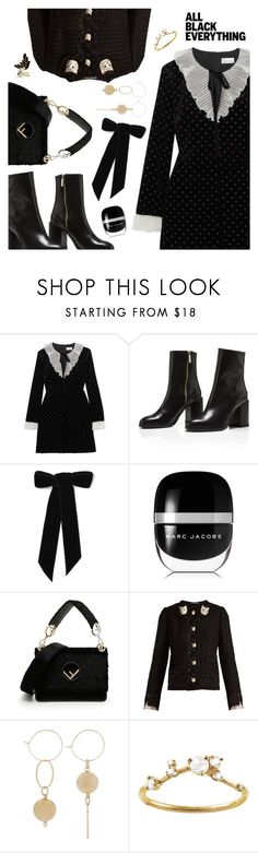 """Monochrome: All Black Everything"" by dressedbyrose ❤ liked on Polyvore featuring RED Valentino, Jennifer Behr, Marc Jacobs, Fendi, Dolce&Gabbana, WWAKE, Lanvin and allblack"