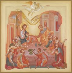 Greece -by George Kordis ~~~. Last Supper Holy Thursday, Christian Artwork, Life Of Christ, Architecture Art Design, Best Icons, Last Supper, Sacred Art, I Icon, Old Art