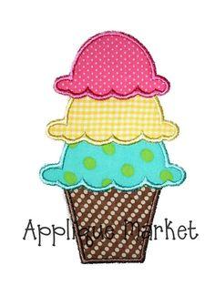 Machine Embroidery Design Applique Ice Cream Cone via Etsy