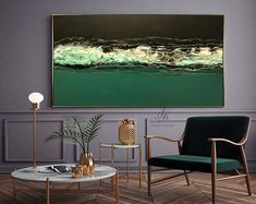 Large Abstract Oil Painting Wall Art Gold Painting Wall Decor Modern Art Original Painting with Gold leaf Abstract Painting by Julia Kotenko by JuliaKotenkoArt on Etsy Oil Painting Abstract, Acrylic Painting Canvas, Large Painting, Large Canvas Art, Canvas Wall Art, Gold Leaf Art, Green Paintings, Modern Wall Decor, Modern Art